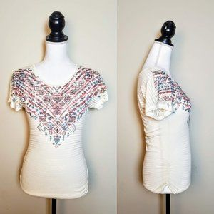 MAURICES Top, White Pink Linen Aztec Boho Soft, XS